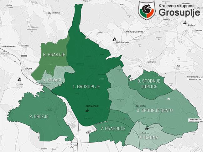 Zemljevid vseh okrajev v Krajevni skupnosti Grosuplje